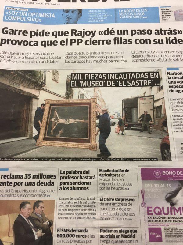 Portada de prensa en Murcia