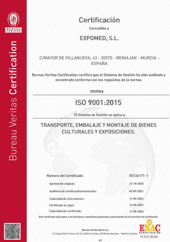 Certificado Calidad Expomed